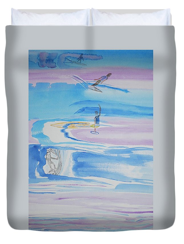 Different Surfers On Waves With Different Styles.. Duvet Cover featuring the painting Los Serfers by Douglas Friedman