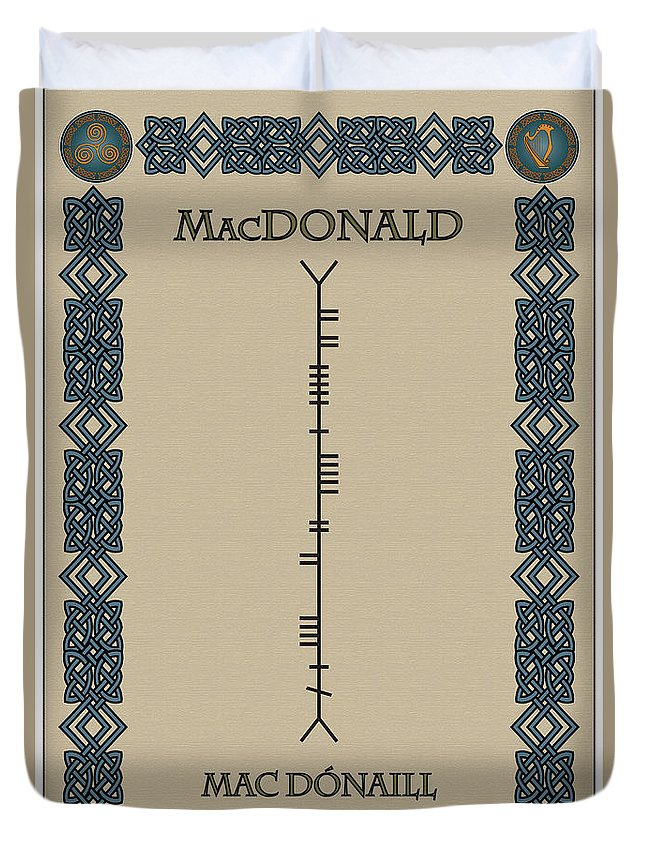 Macdonald Duvet Cover featuring the digital art Macdonald Written In Ogham by Ireland Calling