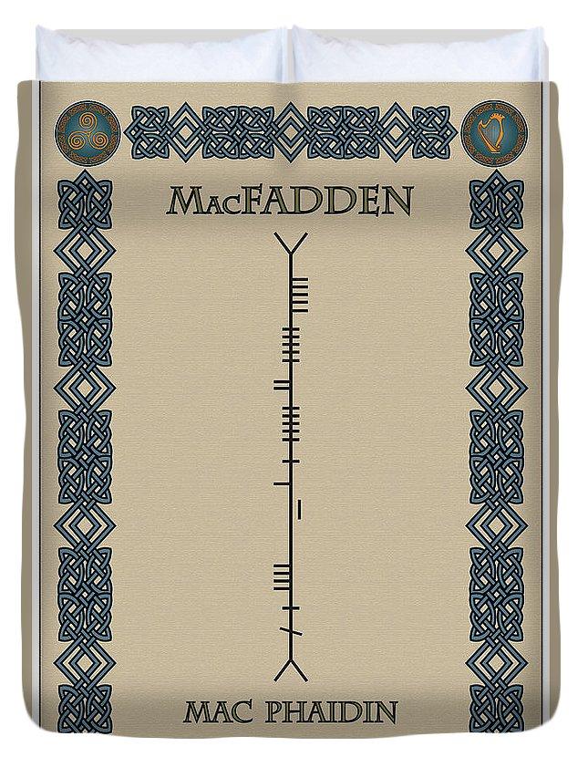 Macfadden Duvet Cover featuring the digital art Macfadden Written In Ogham by Ireland Calling