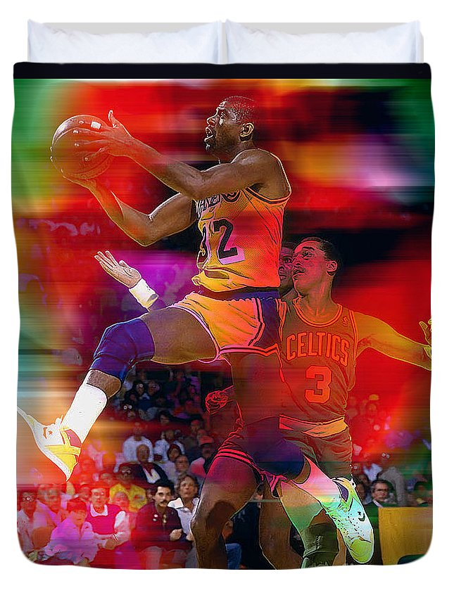 Magic Johnson Paintings Duvet Cover featuring the mixed media Magic Johnson by Marvin Blaine