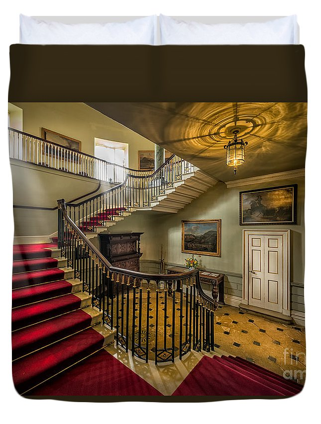 British Duvet Cover featuring the photograph Mansion Stairway by Adrian Evans