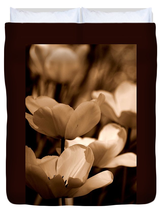 Tulip Duvet Cover featuring the photograph Many Tulips by Kathy Sampson
