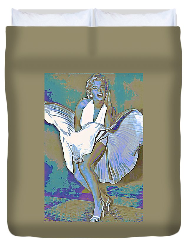 Fli Duvet Cover featuring the painting Marilyn Monroe by Fli Art