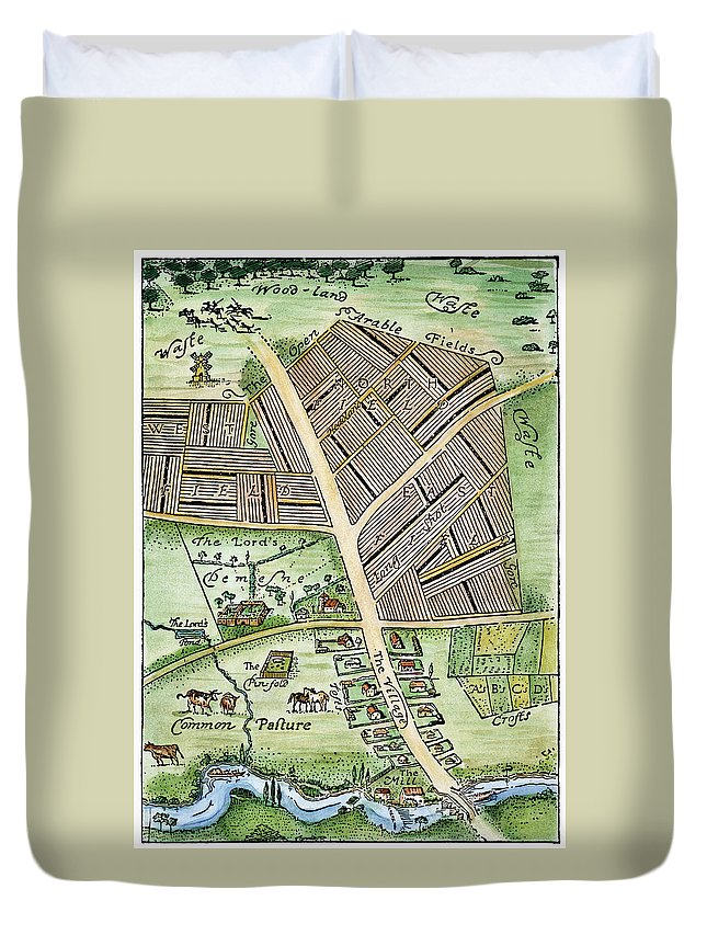 England Duvet Cover featuring the photograph Medieval English Manor by Granger