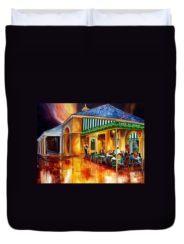 New Orleans Duvet Cover featuring the painting Midnight At The Cafe Du Monde by Diane Millsap
