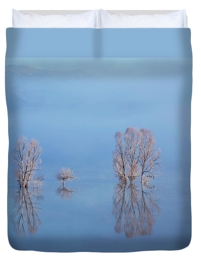 Water's Edge Duvet Cover featuring the photograph Misty Lake In Spring by Temizyurek