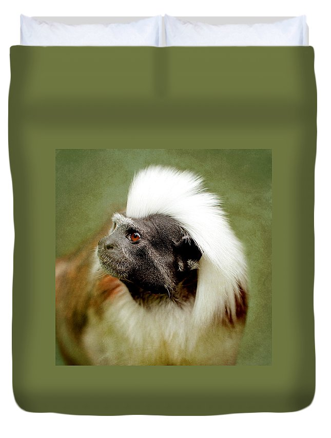 Animal Duvet Cover featuring the photograph Monkey by Heike Hultsch