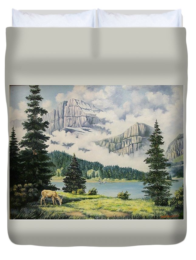 Landscape Duvet Cover featuring the painting Morning At The Glacier by Wanda Dansereau