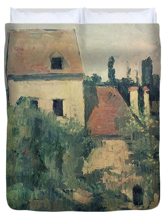 Landscape; Post-impressionist; France Duvet Cover featuring the painting Moulin De La Couleuvre At Pontoise by Paul Cezanne