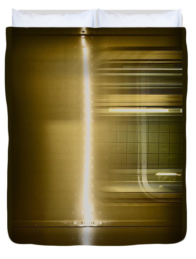 Subway; Side; Train; Car; Transportation; Inside; Indoors; Fast; Moving; Motion; Light; Streak; Window; Empty; New York City; New York; City; Underground; Rail; Window; Metal; Urban Duvet Cover featuring the photograph Moving by Margie Hurwich