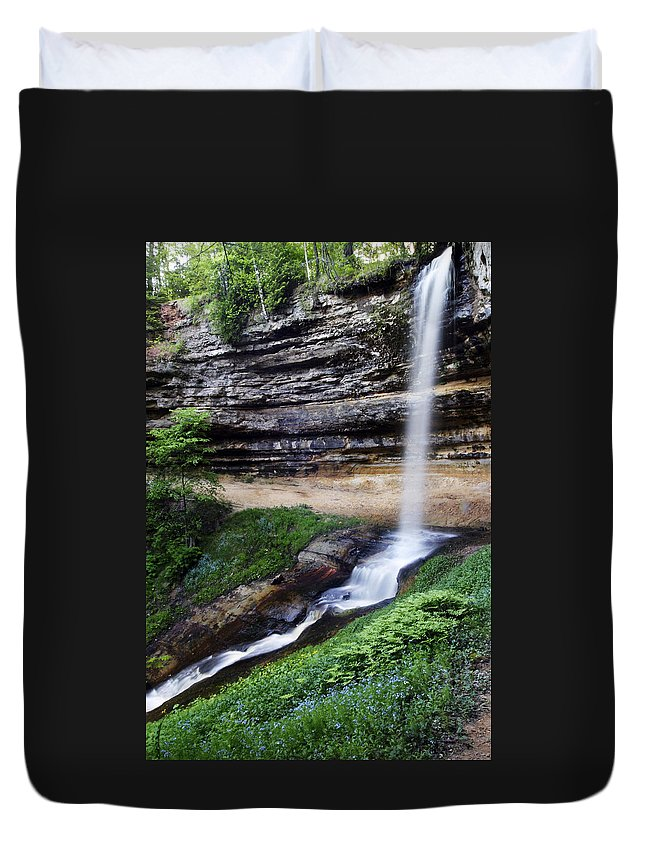 3scape Duvet Cover featuring the photograph Munising Falls by Adam Romanowicz