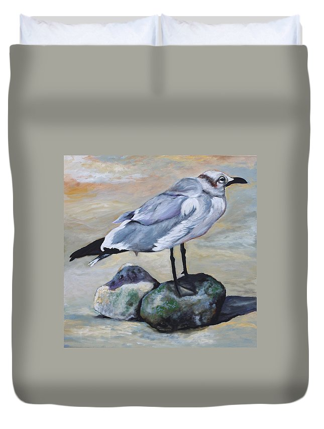 Seagull Duvet Cover featuring the painting Native Floridian by Eve Wheeler