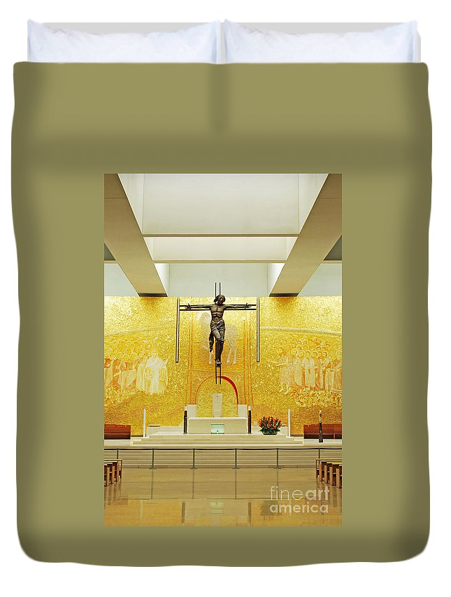 Architecture Duvet Cover featuring the photograph New And Modern Cathedral Of Fatima by Luis Alvarenga