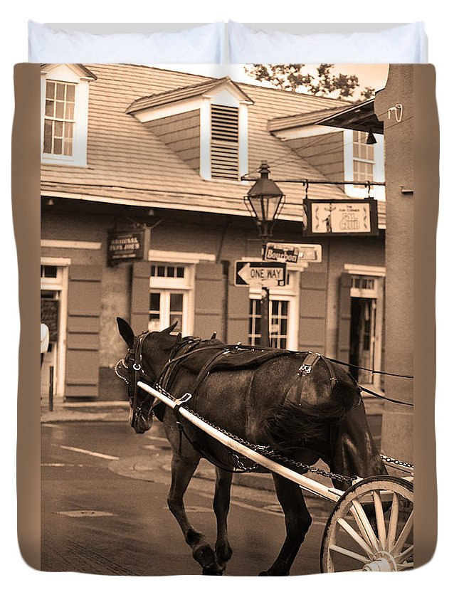 America Duvet Cover featuring the photograph New Orleans - Bourbon Street Horse 3 by Frank Romeo