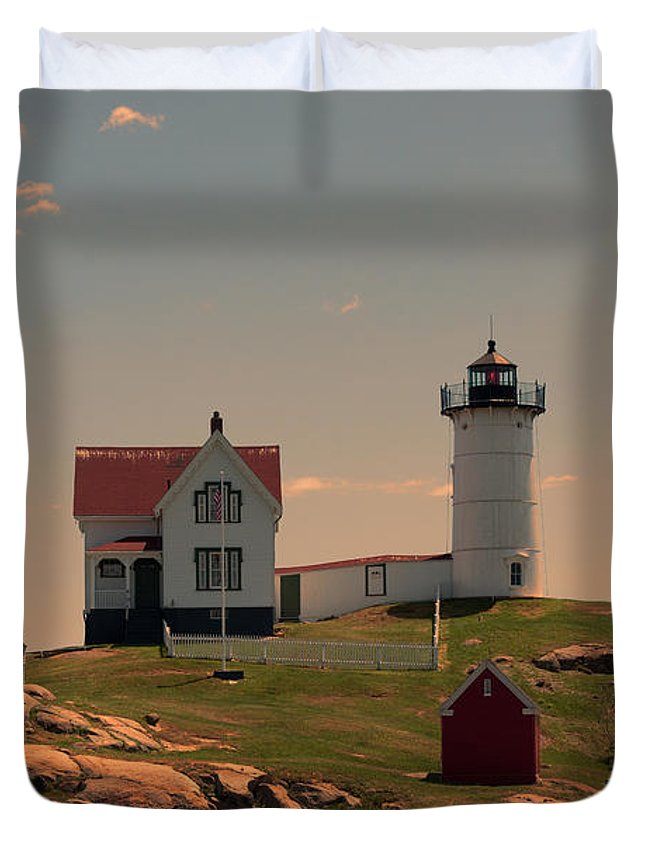 Maine Duvet Cover featuring the photograph Nubble Light by K Hines