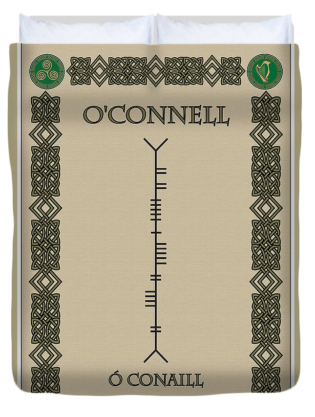 O'connell Duvet Cover featuring the digital art O'connell Written In Ogham by Ireland Calling