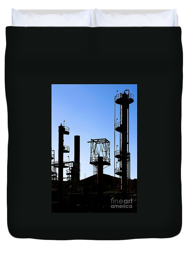 Air Duvet Cover featuring the photograph Oil Refinery by Henrik Lehnerer