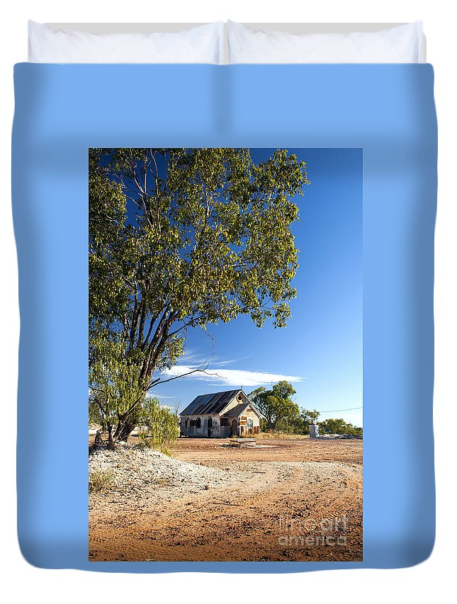 Lightning Ridge Duvet Cover featuring the photograph Old Church by Tim Hester