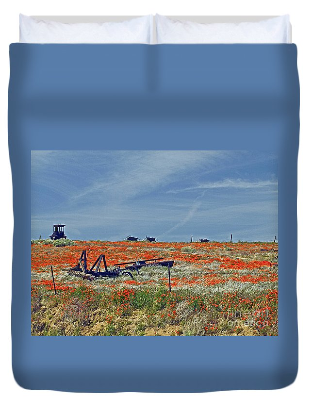 Tractor Duvet Cover featuring the photograph Old Farm Equipment by Howard Stapleton