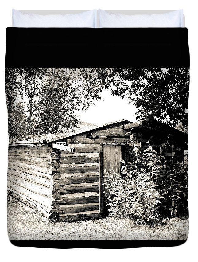Cabin Duvet Cover featuring the photograph Old Log Homestead by Athena Mckinzie