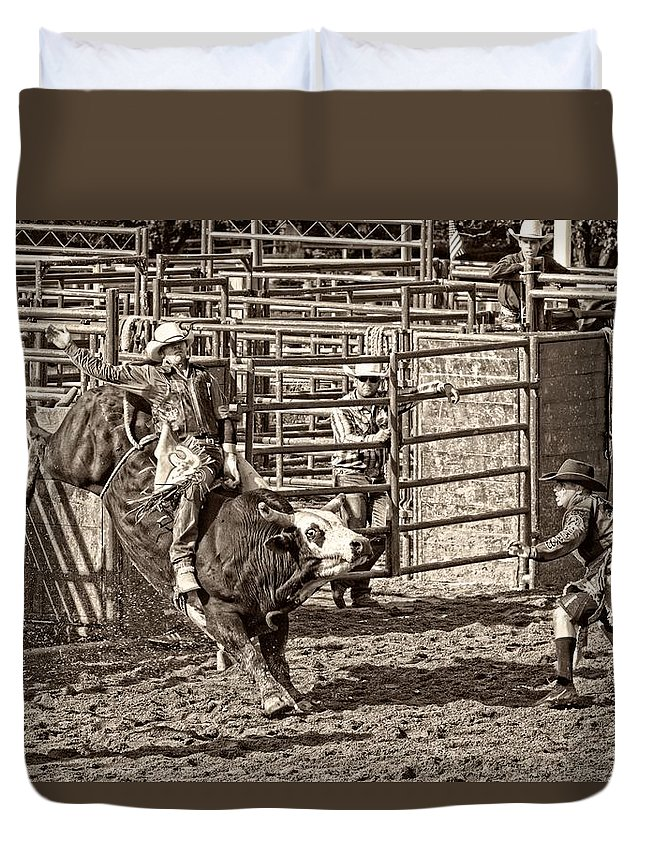Bullriding Duvet Cover featuring the photograph Ole Whitey by Alice Gipson