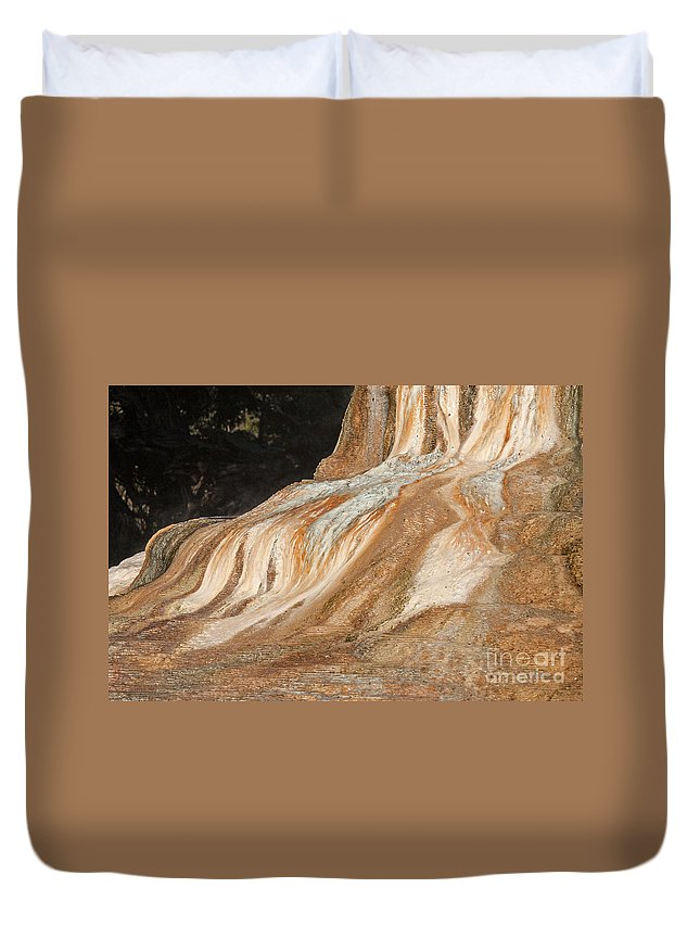 Mammoth Hot Springs Duvet Cover featuring the photograph Orange Spring Mound At Mammoth Hot Springs by Fred Stearns