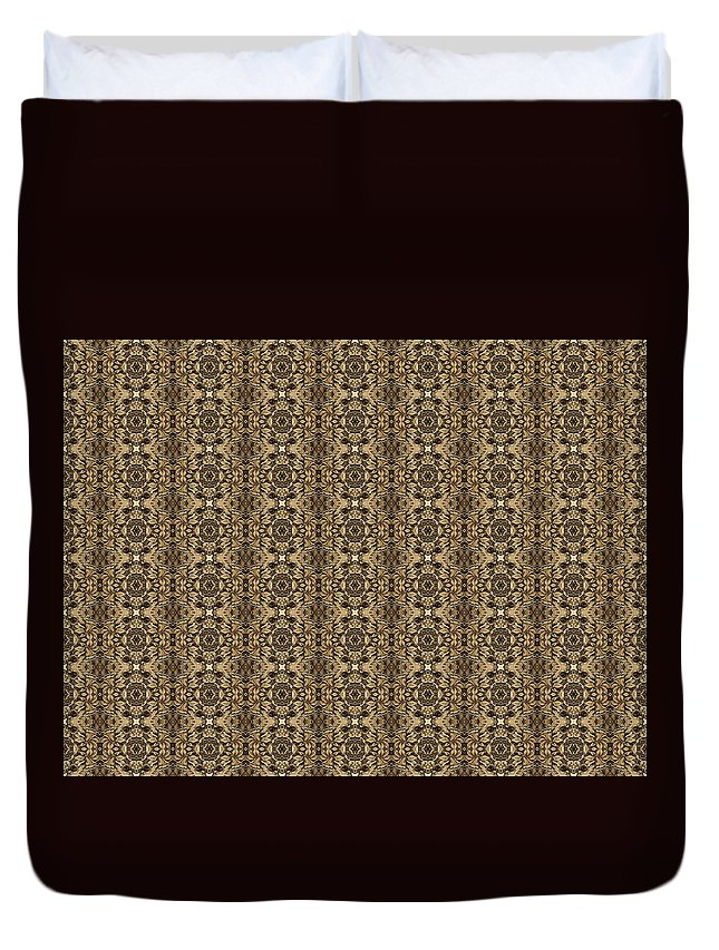 Abstract Duvet Cover featuring the digital art Ornament Engraved On Metal Surface by Nenad Cerovic