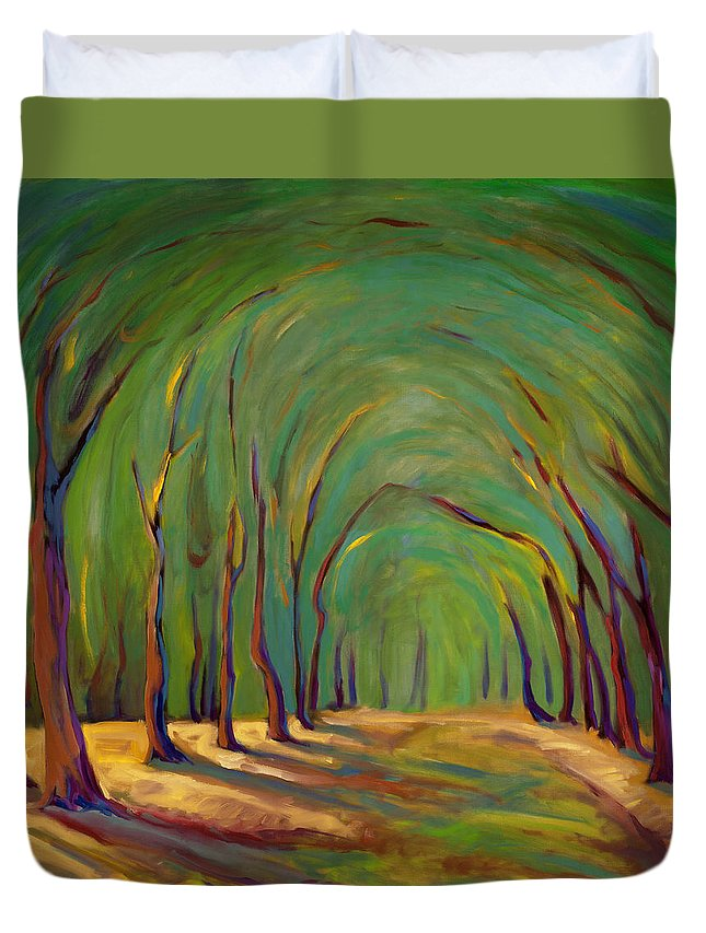 Landscape Duvet Cover featuring the painting Our Secret Place by Konnie Kim