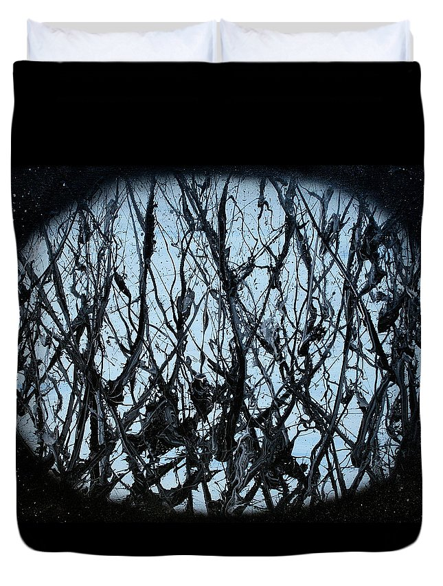 Black Duvet Cover featuring the painting Out There by Ric Bascobert