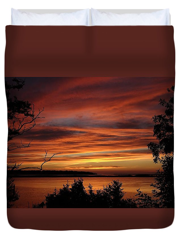 Obx Duvet Cover featuring the photograph Outer Banks Sunset Over Bay And Colington Island by Richard Rosenshein