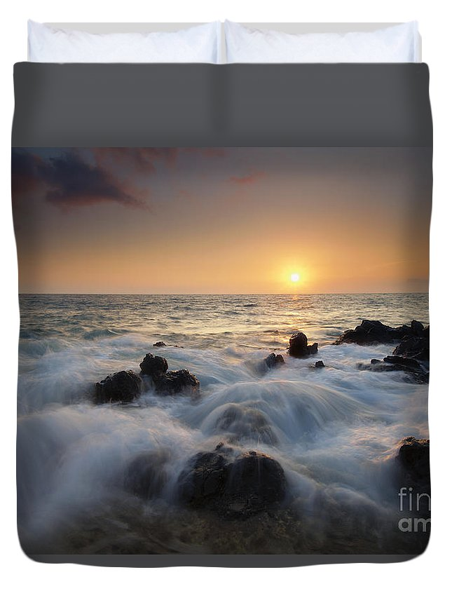 Maui Duvet Cover featuring the photograph Over The Rocks by Mike Dawson