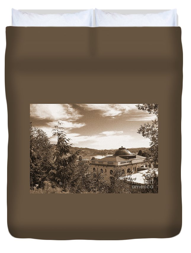 Pacific County Courthouse Duvet Cover featuring the photograph Pacific County Courthouse Timeless Series 8 by Howard Tenke