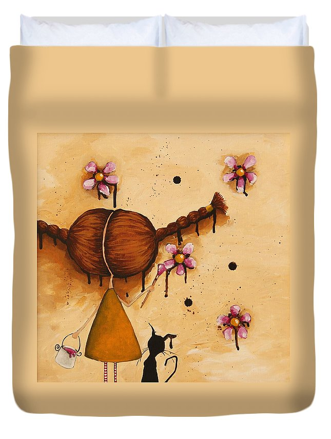 Whimsical Duvet Cover featuring the painting Painting Flowers by Lucia Stewart