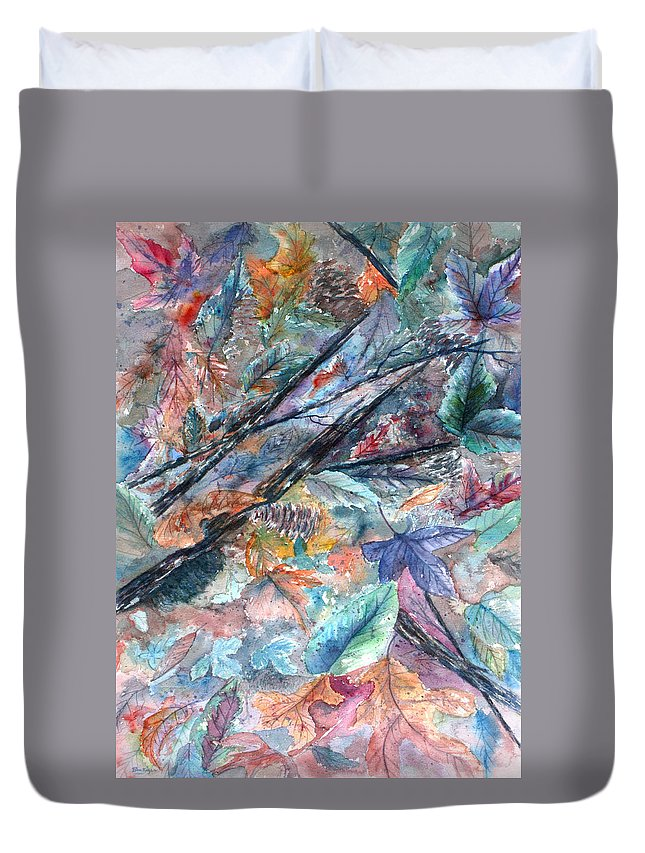 Pine Cones Duvet Cover featuring the painting Pattern of Leaves by Ben Kiger