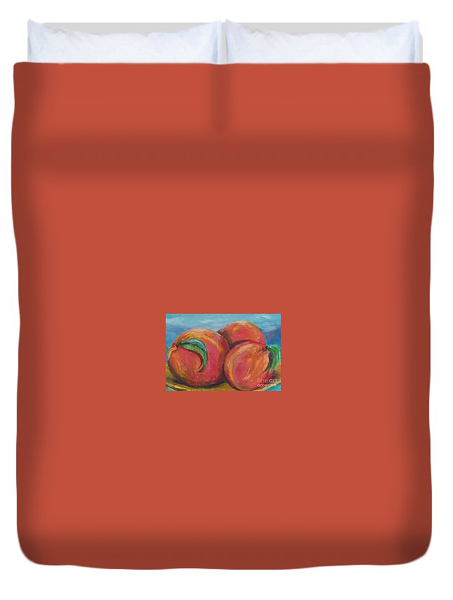 Impressionism Duvet Cover featuring the painting Peaches by Eric Schiabor