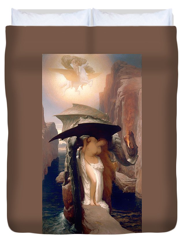 Painting Duvet Cover featuring the painting Perseus And Andromeda by Mountain Dreams