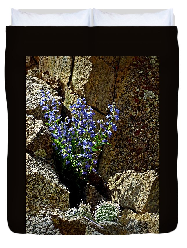 Wildflower Photography Duvet Cover featuring the photograph Persistence by George Tuffy