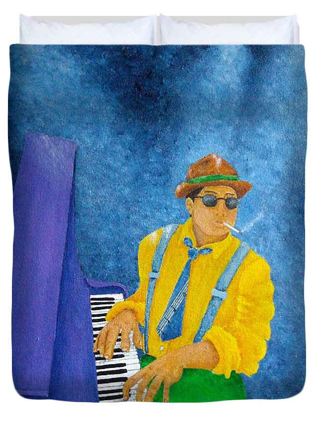 Pamela Allegretto Duvet Cover featuring the painting Piano Man by Pamela Allegretto