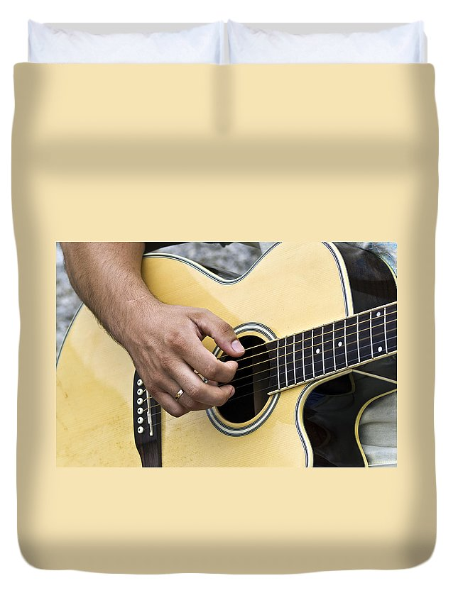 Instrument Duvet Cover featuring the photograph Playing Guitar by Paulo Goncalves