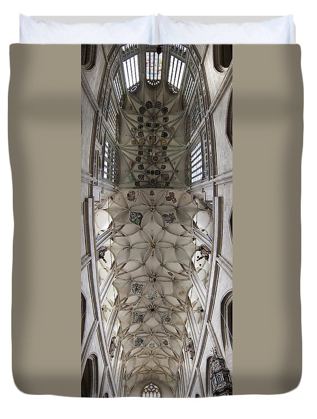 Vault Duvet Cover featuring the photograph pointed vault of Saint Barbara church by Michal Boubin