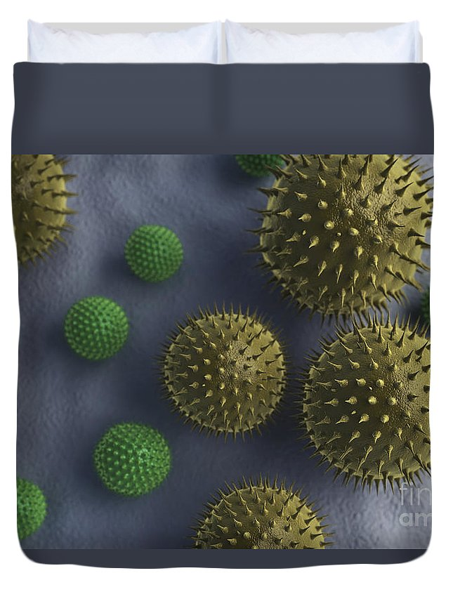 3d Visualisation Duvet Cover featuring the photograph Pollen Grains by Science Picture Co