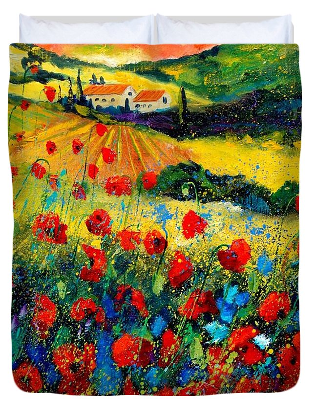 Flowersn Landscape Duvet Cover featuring the painting Poppies in Tuscany by Pol Ledent