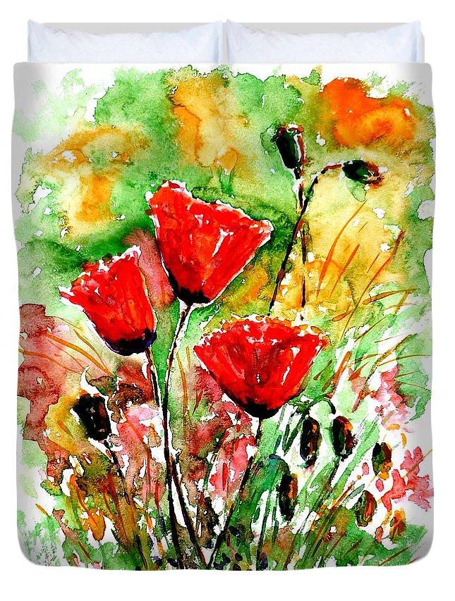 Poppy Lawn Duvet Cover featuring the painting Poppy Lawn by Zaira Dzhaubaeva