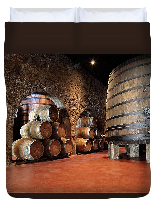 Fermenting Duvet Cover featuring the photograph Porto Wine Cellar by Vuk8691