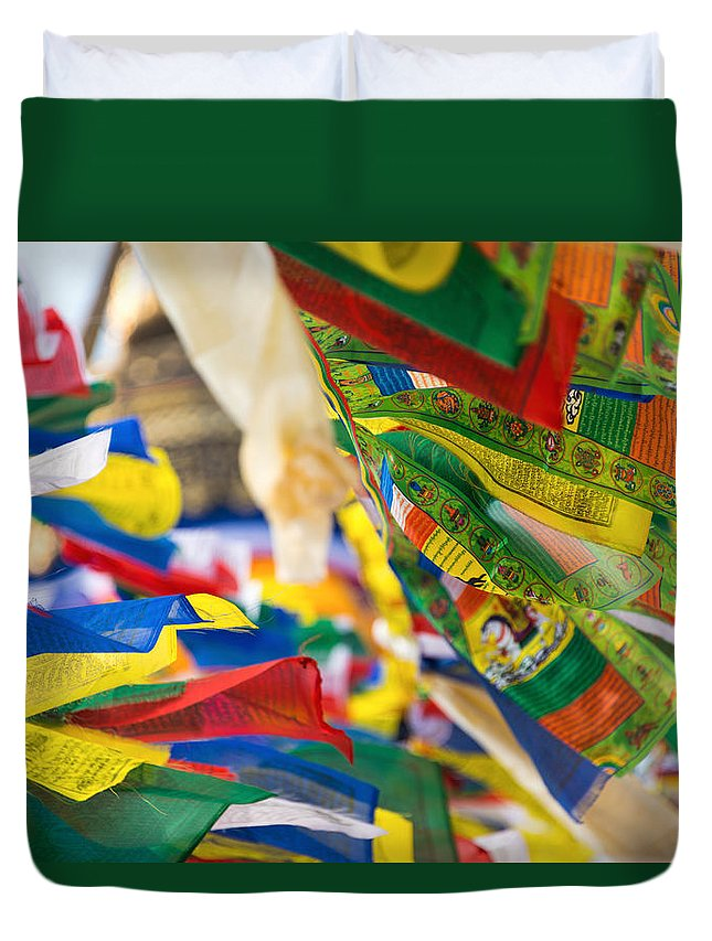 Buddhism Duvet Cover featuring the photograph Prayer Flags by Dutourdumonde Photography