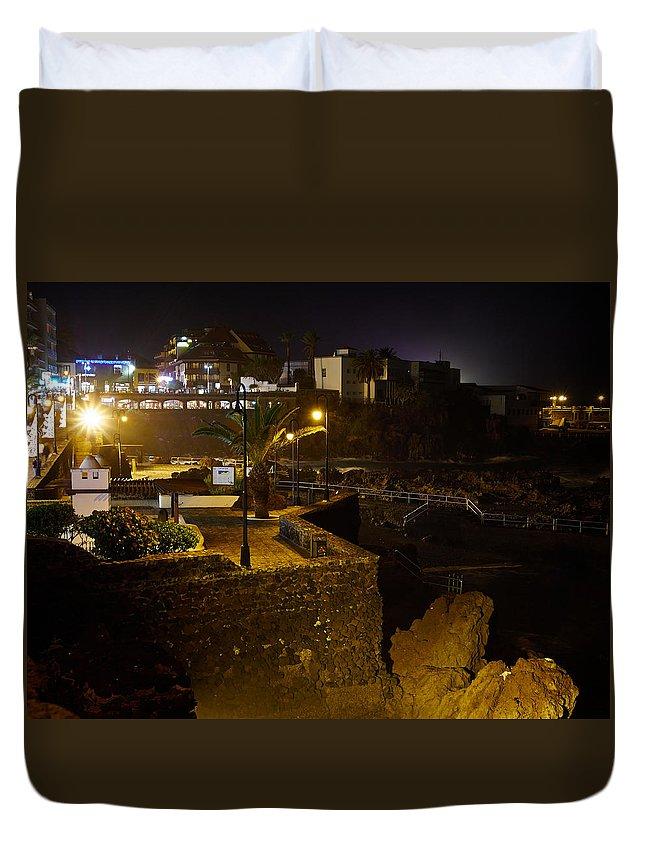 Atlantic Ocean Duvet Cover featuring the photograph Puerto De La Cruz By Night by Jouko Lehto