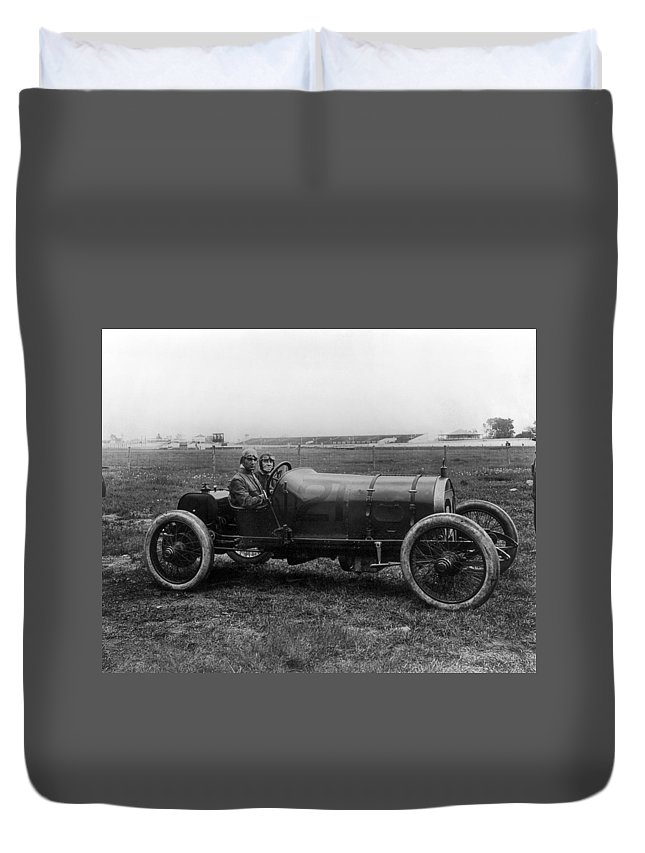 1913 Duvet Cover featuring the photograph Racecar Drivers, C1913 by Granger