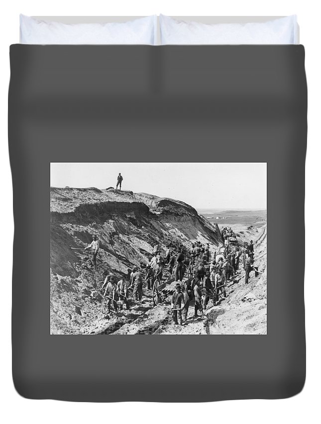 1879 Duvet Cover featuring the photograph Railroading Construction by Granger
