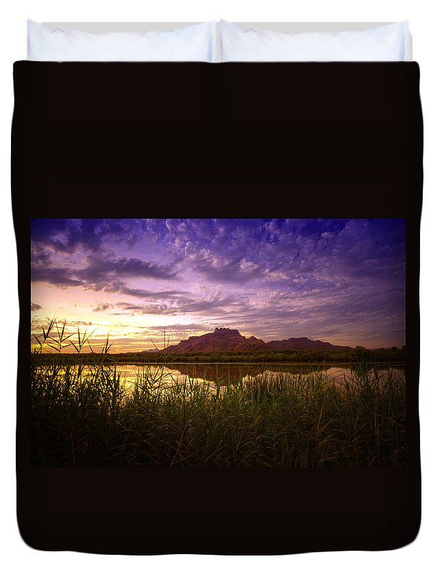Sunset Duvet Cover featuring the photograph Red Mountain Reflections by Saija Lehtonen