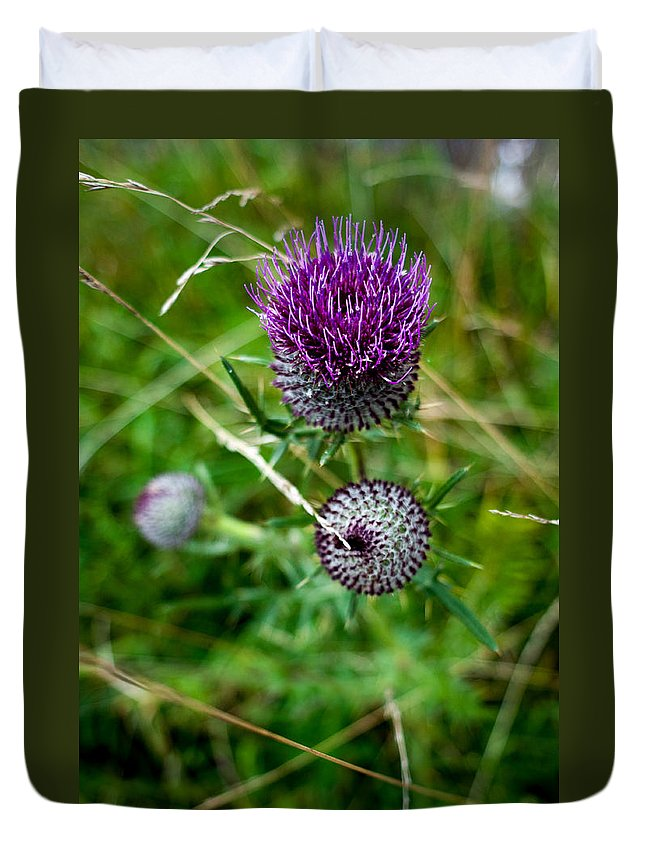 Miguel Duvet Cover featuring the photograph Roadside Flowers by Miguel Winterpacht